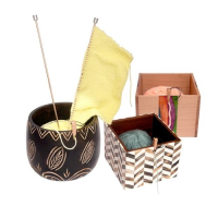 Wooden Yarn Bowls & Boxes