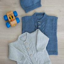 (k381 Cabled Front Cardigan, Vest and Hat)
