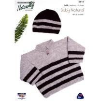 (K715 Striped Sweater & Hat)