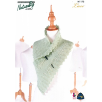 (NX 1173 Lace Scarf with Garter Stitch Centre)