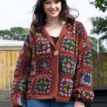 (N1520 Crochet Granny Square Jacket)